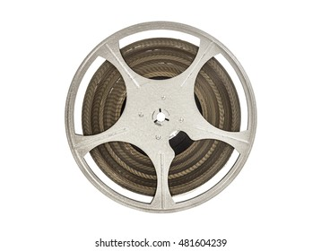Vintage 8 mm movie film reel isolated on white.