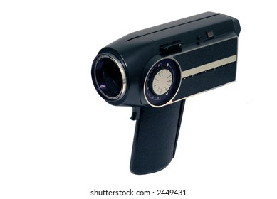 Vintage 8mm home movie camera on white background