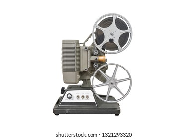 Vintage 8mm home movie film projector isolated on white.