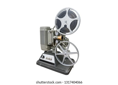 Vintage 8mm home movie projector isolated on white.