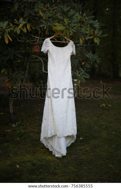Vintage 90s Wedding Dress Hanging Rhododendron Stock Photo Edit Now 756385555