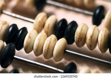 Vintage abacus for mathematic calculation.