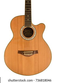 Vintage acoustic guitar on white background,isolated. Clipping path added.