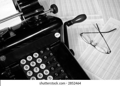Vintage Adding Machine & Glasses (Black and White)