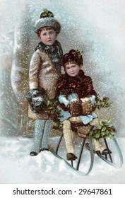 vintage advertising card illustration - Kids Sledding