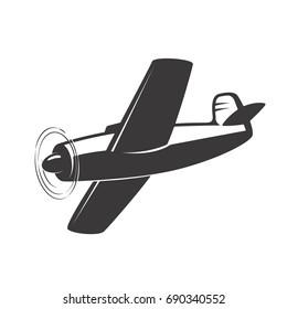 Vintage aeroplane illustration isolated on white background. Design elements for logo, label, emblem, sign.