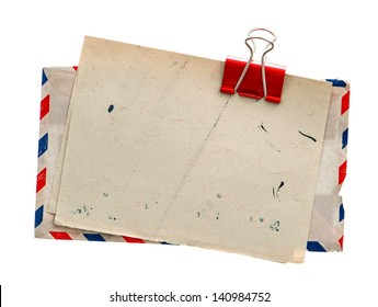 vintage air mail envelope. retro post letter. grungy paper background