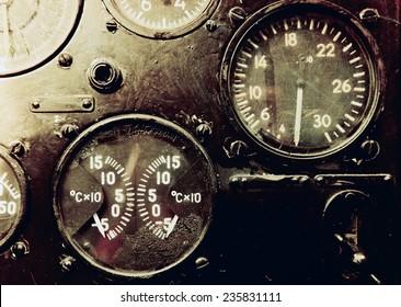 Vintage aircraft cockpit detail