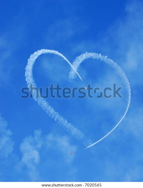 Vintage Aircraft Sky Writing Romantic Heart Shape