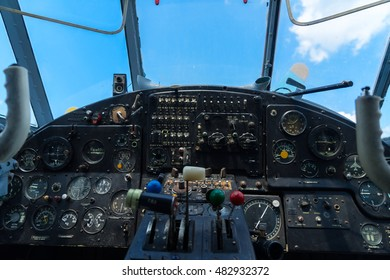 Vintage airplane dashboard, close up view