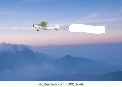 Vintage airplane show blank banner, landscape mountain and cloud with sun light morning time.
