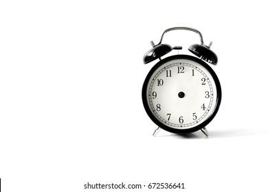 vintage alarm clock , analog alarm clock on white background ,  alarm clock without clock wise