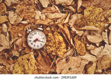Vintage alarm clock in dry autumn leaves, Passing of time and season change concept. Selective focus, Top View
