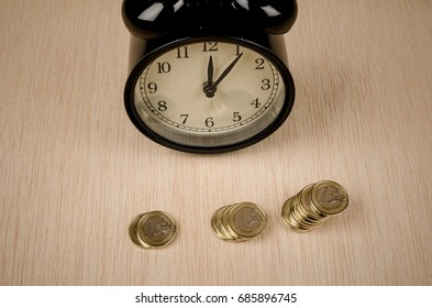 Vintage alarm clock in a time is money concept
