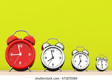 Vintage Alarm Clocks with Single Red One in front of yellow background. 3d Rendering
