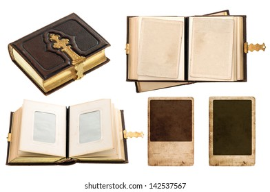 vintage album with retro photo cards. antique book with golden decoration isolated on white background