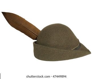 Vintage alpine cap hat with a feather - isolated over white background
