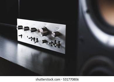 Vintage aluminium hi-fi Stereo Amplifier