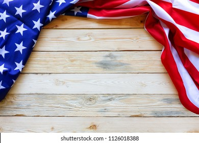 Vintage America flag waving pattern on wood table background top view in red blue white color concept for USA 4th july independence day, symbol of patriot freedom and democracy. pride in memorial day