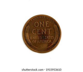 Vintage american coin one cent isolated on white background
