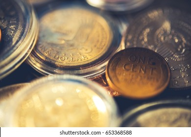 Vintage American Coins Collection. Collectibles Coins Closeup Photo.