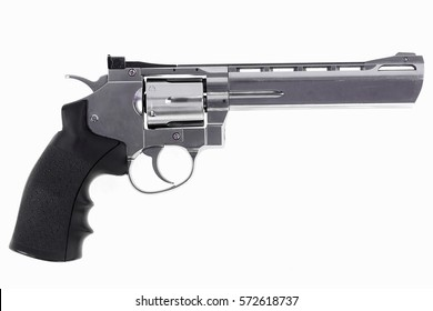 Vintage American revolver on a white background
