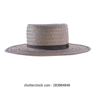 Vintage Amish Straw Hat Isolated