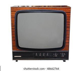Vintage analog black and white TV isolated with clipping path