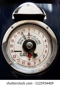 Vintage analog petrol or gas pump dial face
