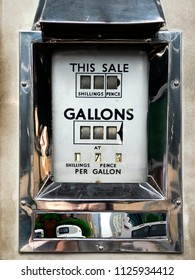 Vintage analog petrol or gas pump dial face