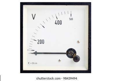 Vintage analog volt meter isolated on white background