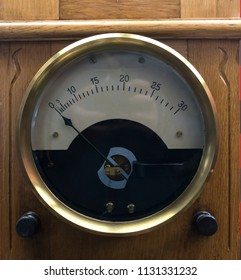 Vintage analogue ammeter made of metal on a wooden work bench.