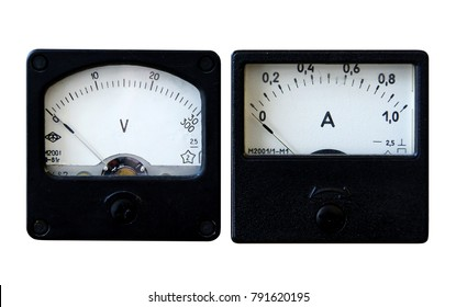 Vintage analogue ammeter and voltmeter isolated on white background