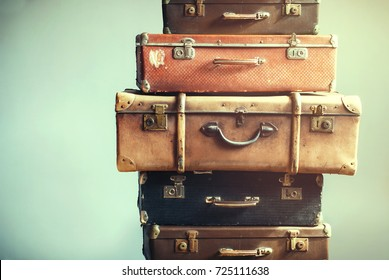 Vintage Ancient Luggage Suitcases Ancient Travel Concept Shabby Background