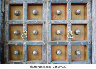 Vintage ancient wooden door