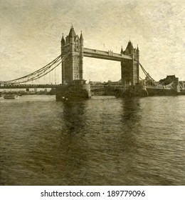 Vintage Antigue Picture of Tower Bridge and the river Thames in London.