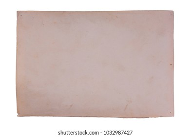 Vintage and antique art concept. Front view of blank old aged dirty photo frame texture with stains and scratches isolated on white background. Detailed closeup studio shot.
