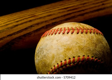 Vintage or antique baseball bat and ball - great for background