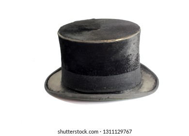Vintage Antique Black Top Hat on White Background