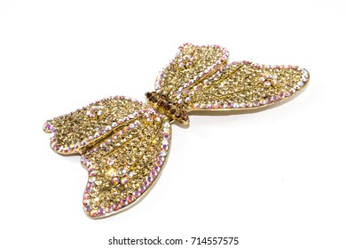 Vintage Antique Butterfly Brooch on White Background