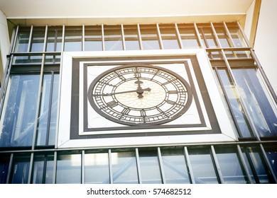 Vintage antique clock face with Roman numerals