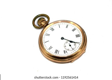 Vintage Antique Clock Watch Timepiece On White background