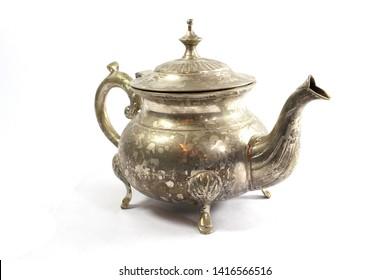 Vintage Antique Coffee or  Tea Pot Kettle on White Background