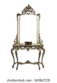 Vintage antique Dressing Table with silver frame Mirror isolated on white background