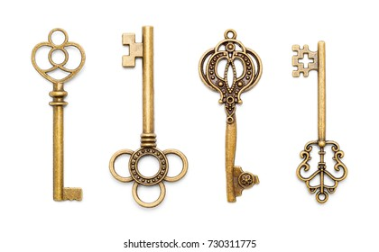 Vintage Antique Old Keys Isolated on a White Background.