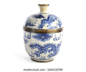Vintage Antique Oriental Pot Vase on White Background