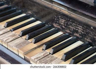 Vintage antique piano keyboard
