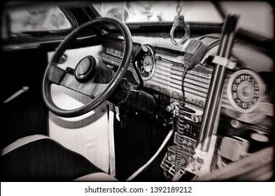Vintage Antique Police Car Nostalgic Remake of Details of Interior Seats Radio Controls Clock Hand Cuff Steering Wheel Dashboard