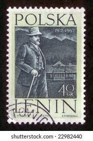 Vintage antique postage stamp from Poland with USSR lieder V. I. Lenin.