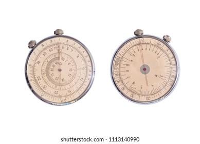 Vintage antique round slide ruler, logarithmic scale, pocket